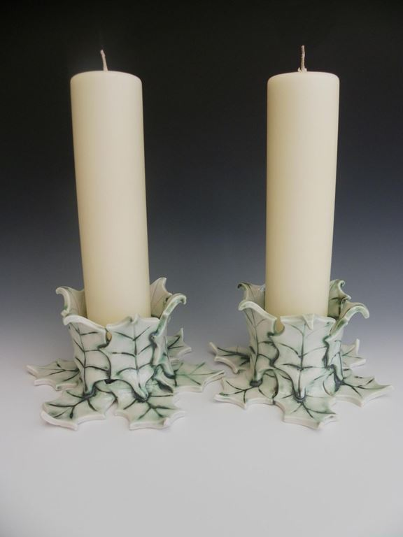 Holly candle holders.